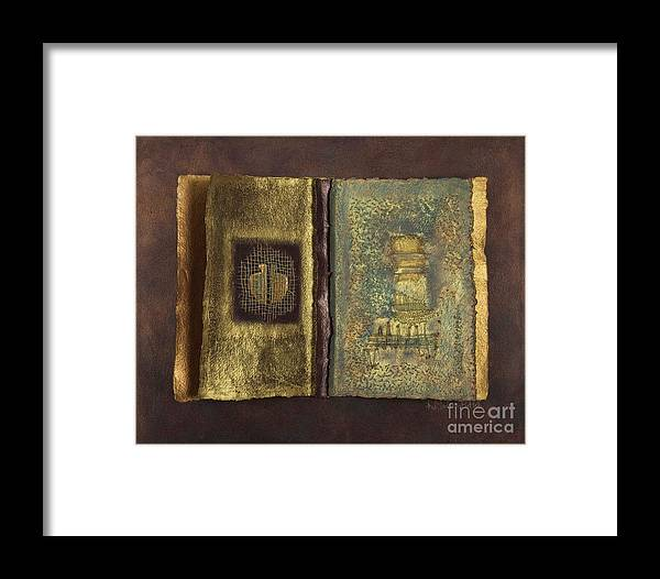 Artist-book Framed Print featuring the mixed media Page Format No 1 Transitional Series by Kerryn Madsen-Pietsch