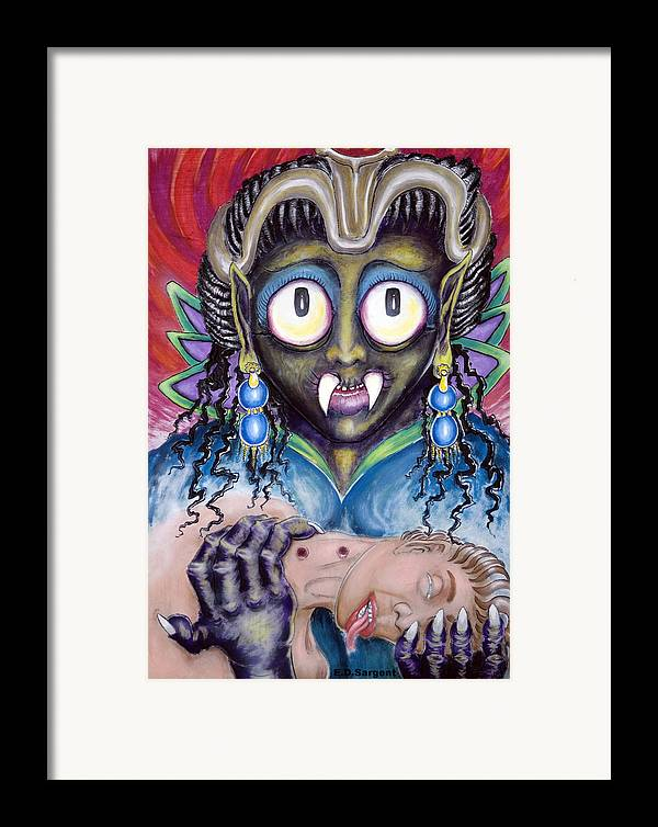 Vamp Framed Print featuring the painting Pain N Neck by Eddie Sargent