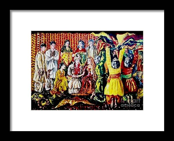 Oil Painting Framed Print featuring the painting Pakistani Wedding by Fareeha Khawaja