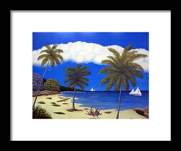 Landscape Art Framed Print featuring the painting Palm Bay by Frederic Kohli