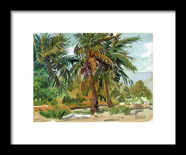 Key West Framed Print featuring the painting Palms in Key West by Donald Maier