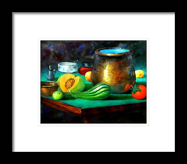 Oil On Canvas Framed Print featuring the painting Panela De Metal by Leomariano artist BRASIL