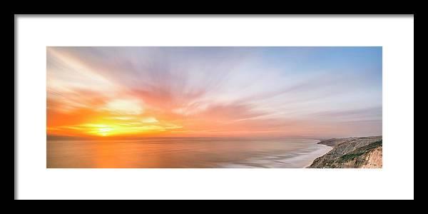 Beach Framed Print featuring the photograph Panoramic Sunset Overtorrey Pines, San Diego Beach, California by Ryan Kelehar