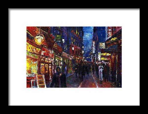 Oil Framed Print featuring the painting Paris Quartier Latin 01 by Yuriy Shevchuk