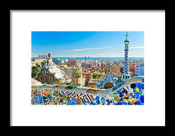 Architecture Framed Print featuring the photograph Park Guell Barcelona by Luciano Mortula