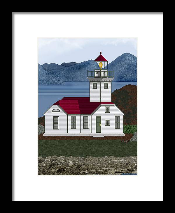 Patos Island Lighthouse Framed Print featuring the painting Patos Island Lighthouse by Anne Norskog
