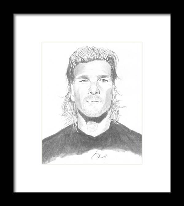 Patrick Swayze Framed Print featuring the drawing Patrick Swayze by Josh Bennett