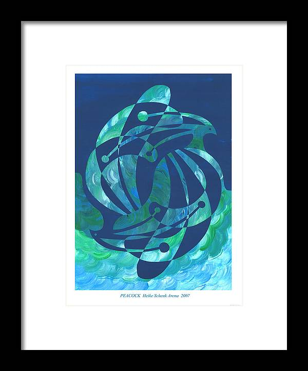 Peacock Framed Print featuring the mixed media Peacock by Heike Schenk-Arena