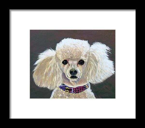 Dog Portrait Framed Print featuring the painting Pebbles by Stan Hamilton