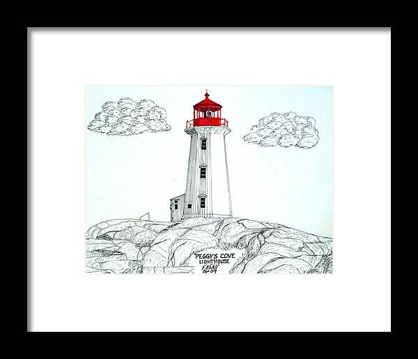Lighthouse Drawings Framed Print featuring the drawing Peggys Cove Lighthouse by Frederic Kohli