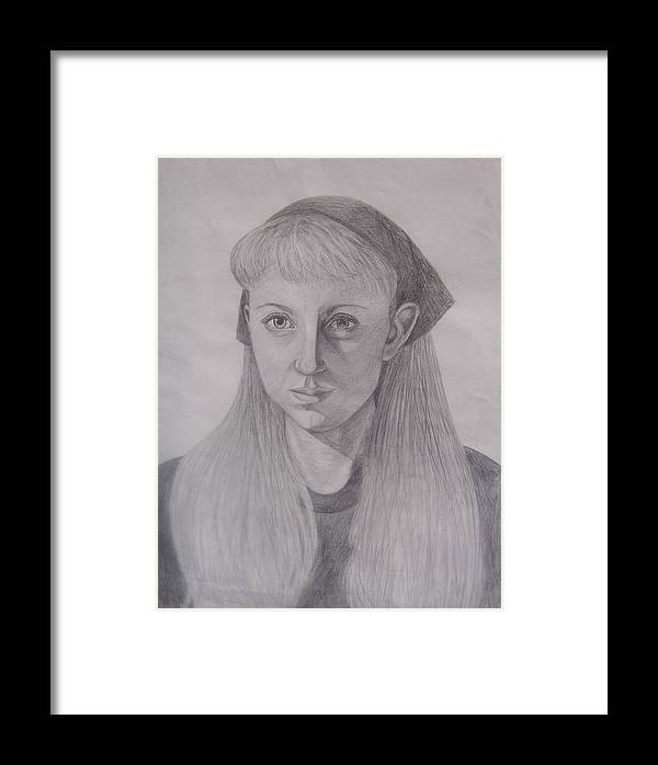 Artist Framed Print featuring the drawing Pencil Self Portrait by Emily Young