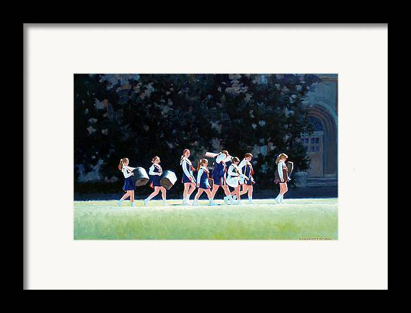 Band Framed Print featuring the painting Pep Squad by Kevin Lawrence Leveque