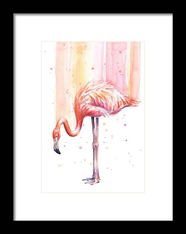 Flamingo Framed Print featuring the painting Pink Flamingo Watercolor Rain by Olga Shvartsur