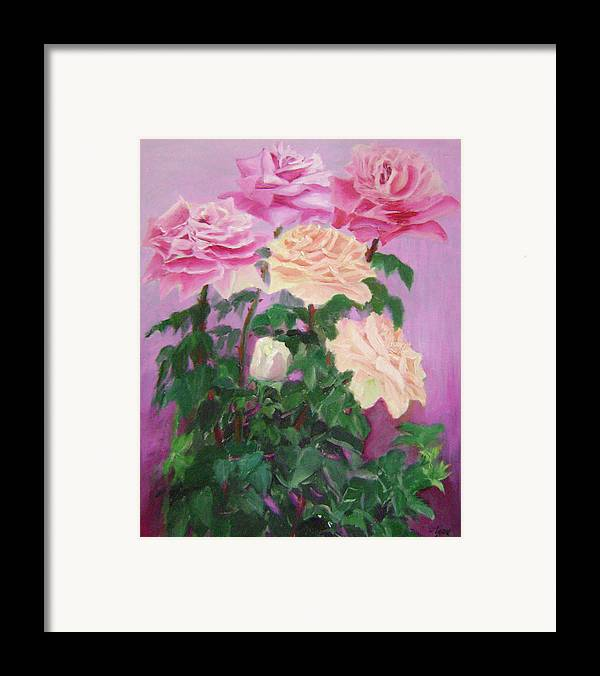 Abstract Framed Print featuring the painting Pink Romance by Lian Zhen