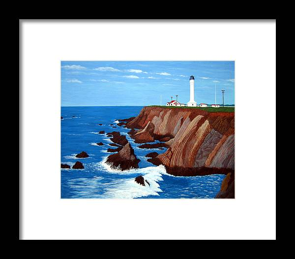 Lighthouse Paintings Framed Print featuring the painting Point Arena Light Station by Frederic Kohli