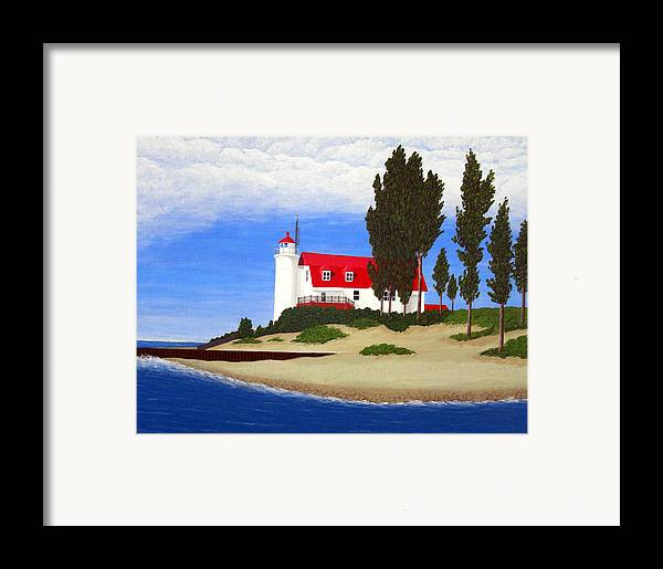 Lighthouse Paintings Framed Print featuring the painting Point Betsie Lighthouse by Frederic Kohli