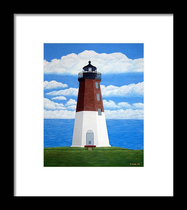 Lighthouse Paintings Framed Print featuring the painting Point Judith Lighthouse by Frederic Kohli