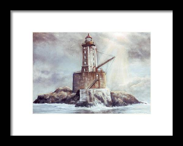 Lighthouse Framed Print featuring the painting Point St. George Reef Lighthouse by Lynne Parker