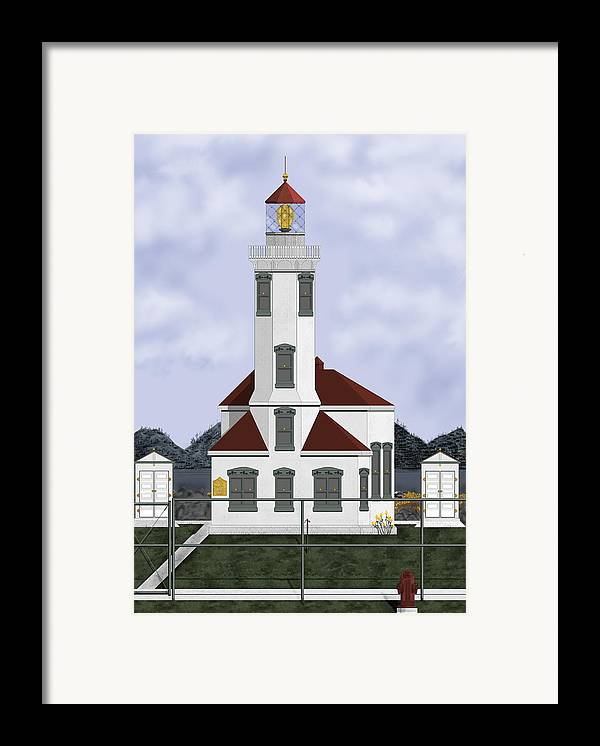 Lighthouse Framed Print featuring the painting Point Wilson Lighthouse by Anne Norskog