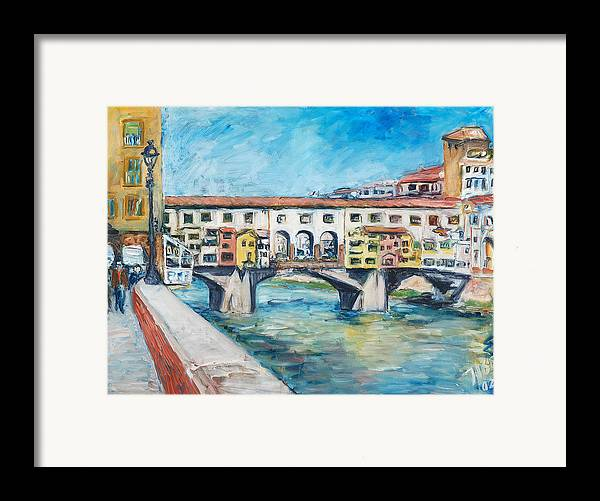 Bridge Italy Old Water Sky People Houses Framed Print featuring the painting Pontevecchio by Joan De Bot