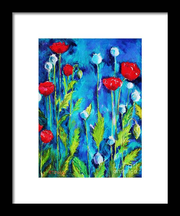 Poppies Framed Print featuring the painting Poppies by Melinda Etzold