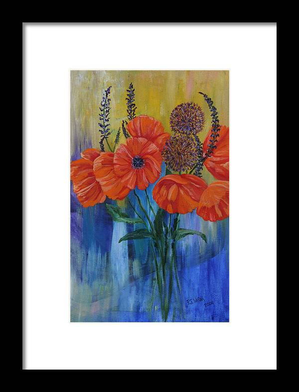 Orange Framed Print featuring the painting Poppies by PJ Wetak