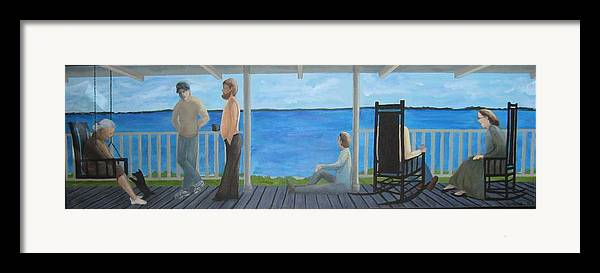 Seascape Framed Print featuring the painting Porch People by Sheryl Sutherland