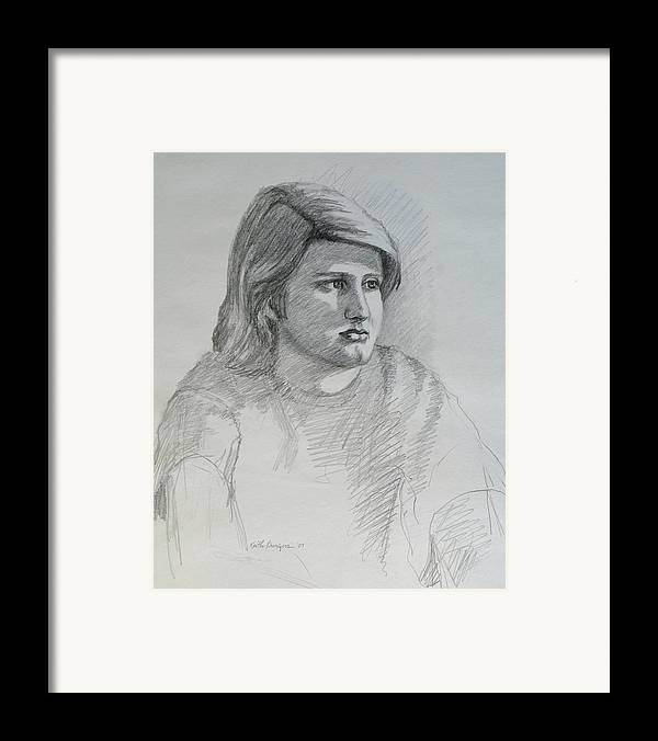 Boy Framed Print featuring the drawing Portrait Of A Boy by Keith Burgess