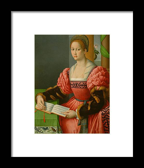 Bacchiacca Framed Print featuring the painting Portrait Of A Woman With A Book Of Music by Bacchiacca