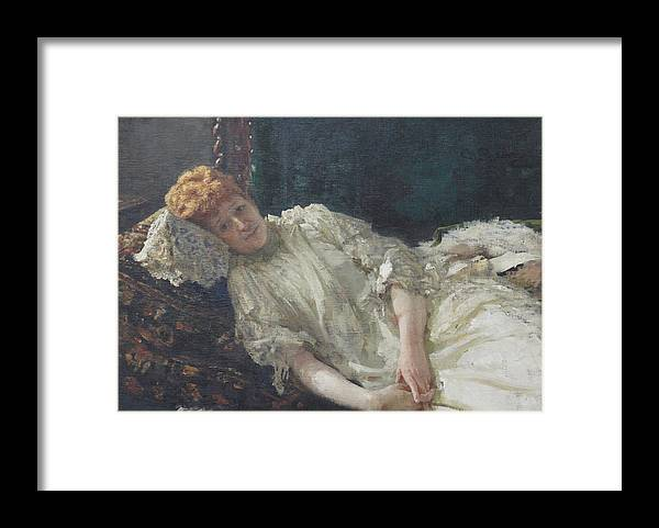 Ilya Repin Portrait Framed Print featuring the painting Portrait of the Pianist Louisa Mercy D'argenteau by Ilya Repin