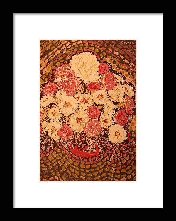 Framed Print featuring the painting Pot With Flowers by Biagio Civale