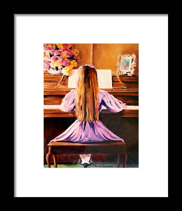 Piano Framed Print featuring the painting Practice Makes Perfect by Ellen Lerner ODonnell