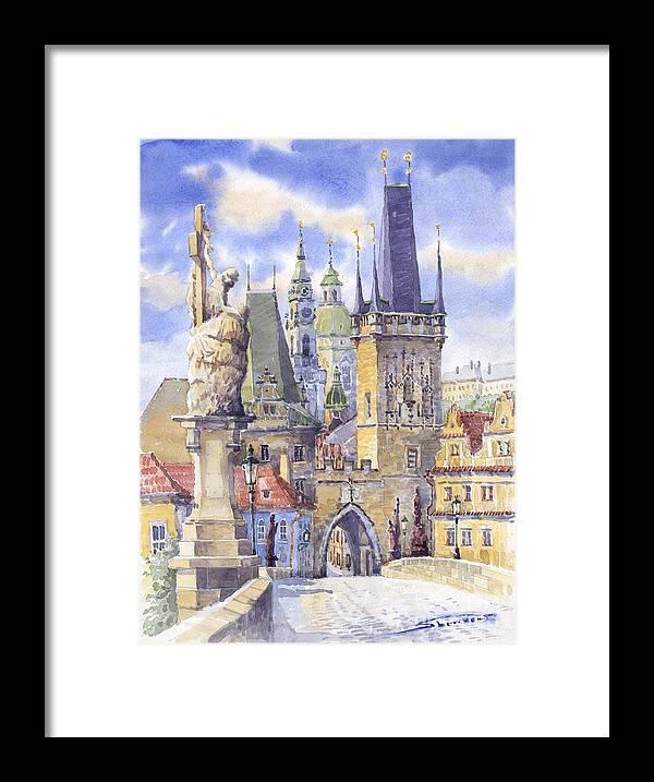 Watercolour Framed Print featuring the painting Prague Charles Bridge by Yuriy Shevchuk