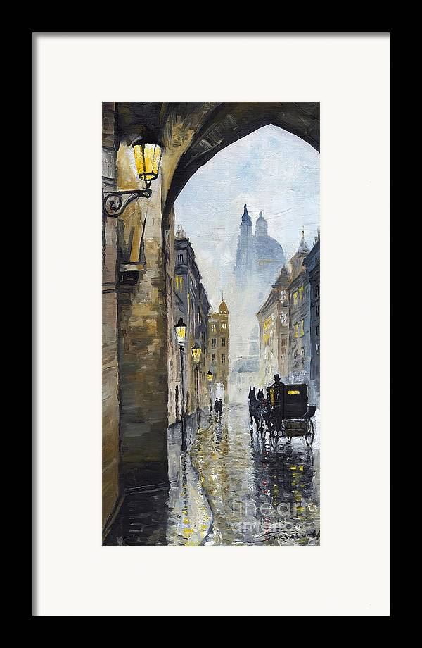 Prague Framed Print featuring the painting Prague Old Street 01 by Yuriy Shevchuk