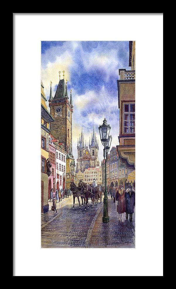 Watercolour Framed Print featuring the painting Prague Old Town Square 01 by Yuriy Shevchuk