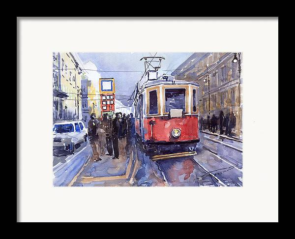 Cityscape Framed Print featuring the painting Prague Old Tram 03 by Yuriy Shevchuk