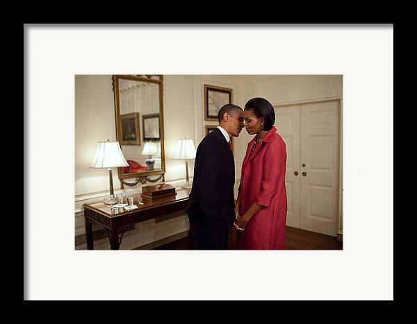 History Framed Print featuring the photograph President And Michelle Obama Wait by Everett