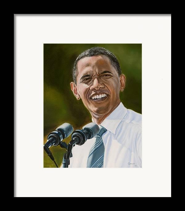 President Barack Obama Framed Print featuring the painting President Barack Obama by Christopher Oakley