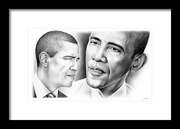 President Framed Print featuring the drawing President Barack Obama by Greg Joens