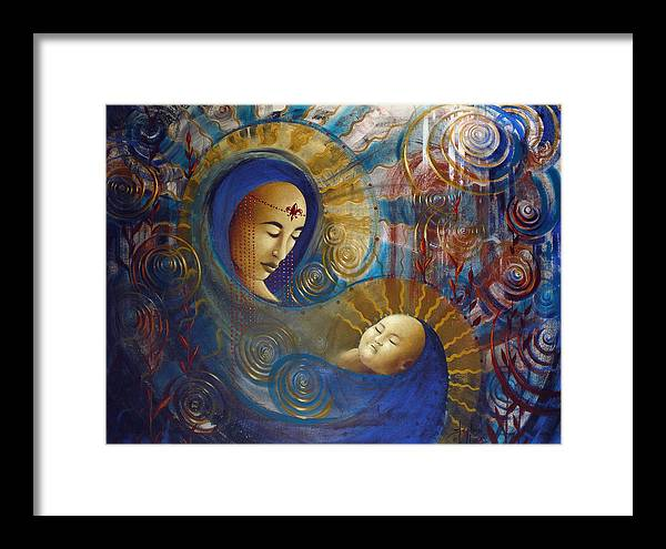 Oil Framed Print featuring the painting Primordial Mother Gives Birth To Solar Father by Stephen Lucas