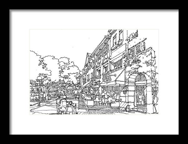 Street  Framed Print featuring the drawing Promenade by Andrew Drozdowicz