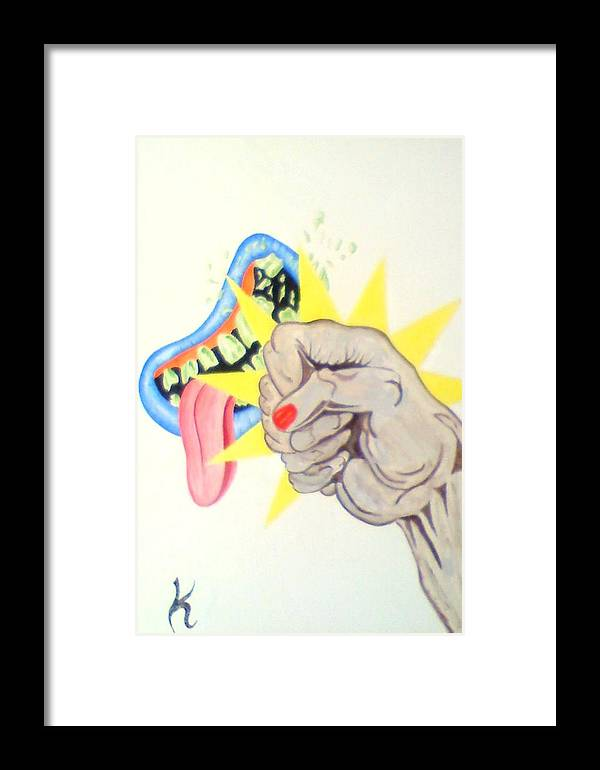 Fist Mouth Framed Print featuring the painting Punch Face by Roger Golden