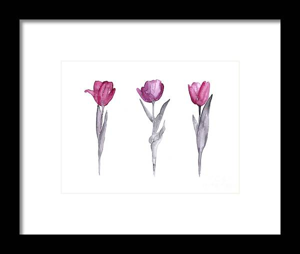 Tulips Framed Print featuring the painting Purple tulips watercolor painting by Joanna Szmerdt