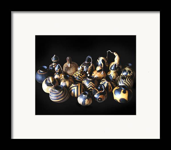 Dino Muradian Framed Print featuring the pyrography Pyrographed Gourds by Dino Muradian
