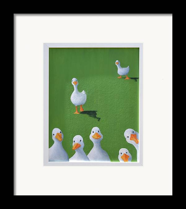 Ducks Framed Print featuring the painting Quackers by Sheryl Sutherland