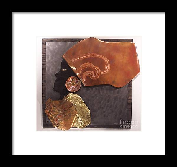 Copper Framed Print featuring the relief Queen by Jeff Williams