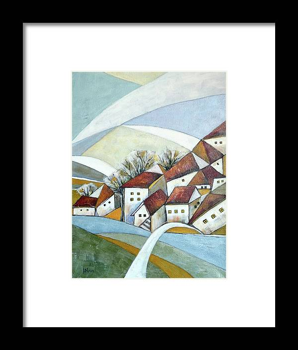 Abstract Framed Print featuring the painting Quiet Village by Aniko Hencz