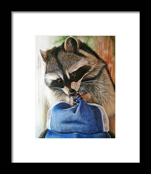 Raccoon Framed Print featuring the painting Raccoon Cap by Cara Bevan