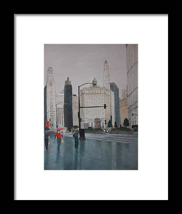 Chicago Framed Print featuring the painting Rainy Day Chicago by Jacob Stempky