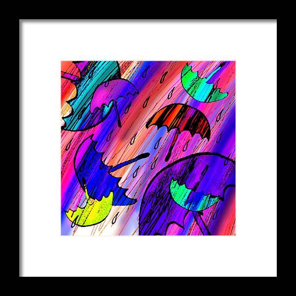 Abstract Framed Print featuring the digital art Rainy Day Love by Rachel Christine Nowicki